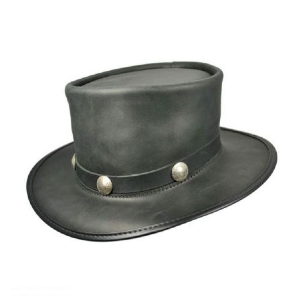 bb829266554 2015 FASHION STYLISH BROWN BLACK GENUINE LEATHER PALE RIDER TOP HAT FOR MENS