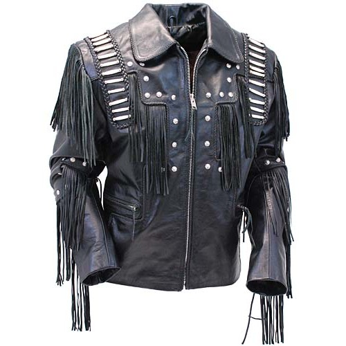 2015 New fashion Bones And Braids Fringed Leather Jacket for mens motorbike leather jacket