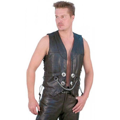 2015 New fashion Heavy Leather Motorcycle Vest with Chain for mens