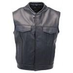 2015 New fashion Sleeveless Leather Biker Vest with Gun Pocket for mens