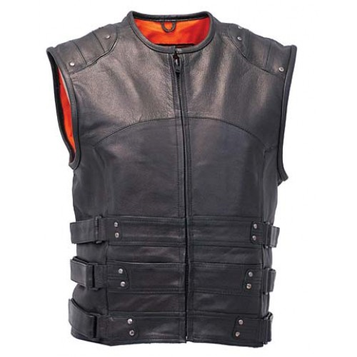 2015 New fashion Triple Leather Side Strap Motorcycle Vest with Back Armor and Conceal Carry Pockets for mens