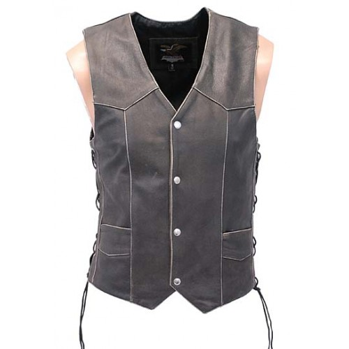2015 New fashion Long Leather Vest - Denim Style for mens