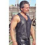 2015 New fashion Mens Classic Lambskin Western Leather Vest for mens