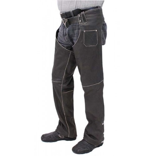 2015 New fashion Vintage Brown Unisex Leather Chaps with Zipper Cover for mens