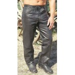 2015 New fashion Mens Leather Pants with Lace Up Fly for mens