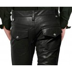 CROSS ZIP CLOSING LEATHER PANTS GENUINE LEATHER SEXY PANTS