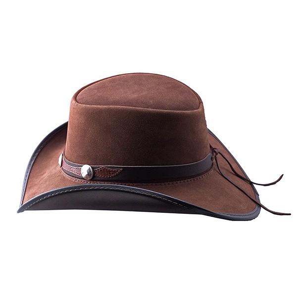 2f633f22abc104 2015 FASHION STYLISH BROWN HEAD N HOME PLAINSMAN LEATHER HAT FOR MENS
