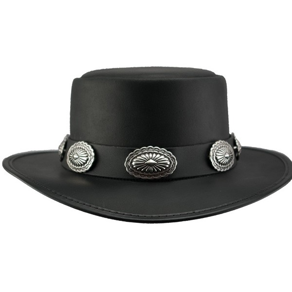 a32db439b07100 2015 FASHION STYLISH BROWN HEAD N HOME STEVIE LEATHER TOP HAT FOR MENS