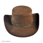 2015 FASHION STYLISH BROWN DJANGO WESTERN LEATHER TOP HAT FOR MENS