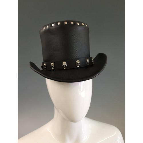 NEW 2015 FASHION BLACK SKULL LEATHER TOP HAT GENUINE LEATHER TOP HAT FOR MENS,WOMENS