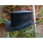 2015 FASHION BLACK LEATHER MENS AND WOMENS COACHMANS / JAZZ HAT VINTAGE STYLE HAND CRAFTED