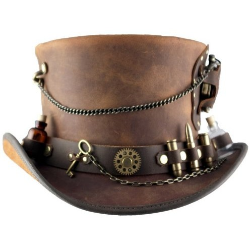 "2015 FASHION Large Brown ""Timeport"" Leather Steampunk Top Hat FOR MENS"