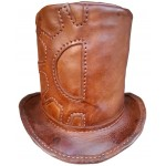 2015 FASHION Steampunk Leather Top Hat with Gear Design for mens