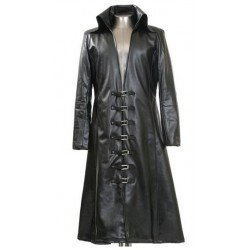 MENS GOTHIC LONG LEATHER COAT BLACK COLOR STEAMPUNK GOTH