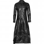 2015 GOTHIC BLACK DRAWSTRING LEATHER LONG COAT FOR WOMENS