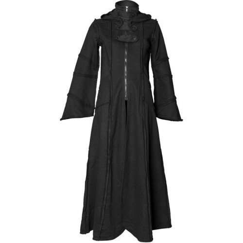 2015 GOTHIC BLACK HOOD FLEECE STYLE LONG COAT FOR WOMENS