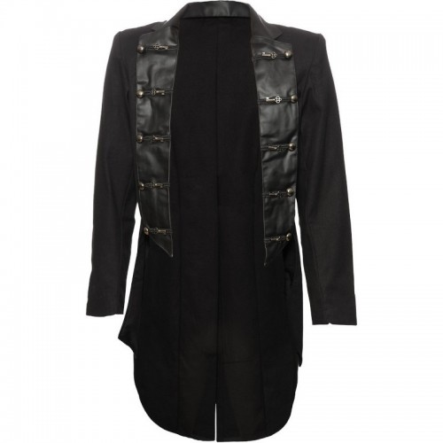 GOTHIC STYLE COTTON TAIL COAT WITH FRONTSIDE PVC PATCH
