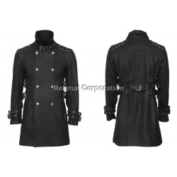 GOTHIC STYLE COTTON COAT WOOL MATERIAL WITH FRONTSIDE BUTTONS