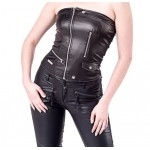 GOTHIC LEATHER LOOK BIKER STYLE STRAPLESS TOP FOR GIRLS BLOUSES & TOPS