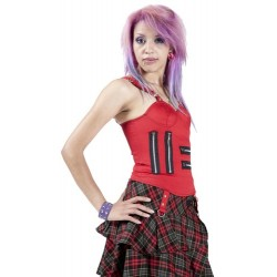 GOTHIC STYLE RED COTTON LADIES TOP WITH ZIPS