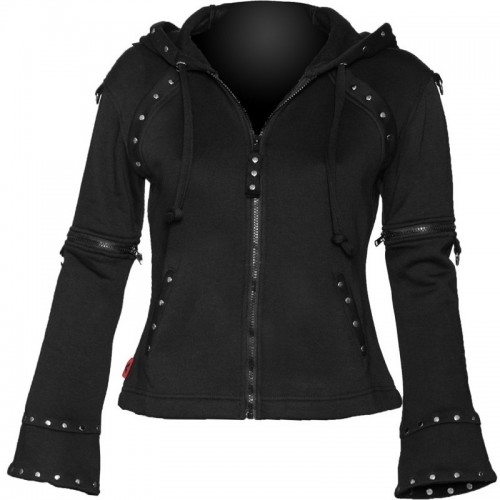 GOTHIC STYLE ZIPPER FASHION JACKET WITH HORNED HOOD FOR WOMENS