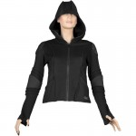 2015 BLACK COTTON CYBER GOTH FASHION JACKET WITH HOOD FOR WOMENS