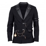 2015 Gothic Vintage Goth Steampunk jacket Men black Gothic black jacket Military Cotton material