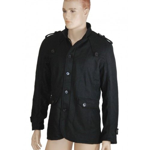 2015 Gothic Punk Jacket Men Black 100% Wool Military material