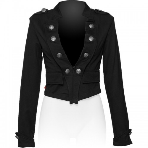2015 BLACK MILITARY STYLE SHORT FASHION JACKET FOR WOMENS