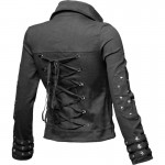 2015 BLACK COTTON SOPHISTICATED BIKER FASHION JACKET WITH STUDS FOR WOMENS