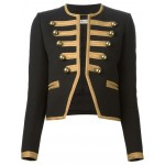2015 GOTHIC STYLE BLACK CROPPED OFFICER JACKET FOR WOMENS