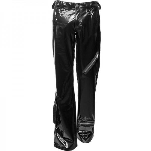 feed62540d110e Gothic men's punky jeans lacquer black faux leather pvc material