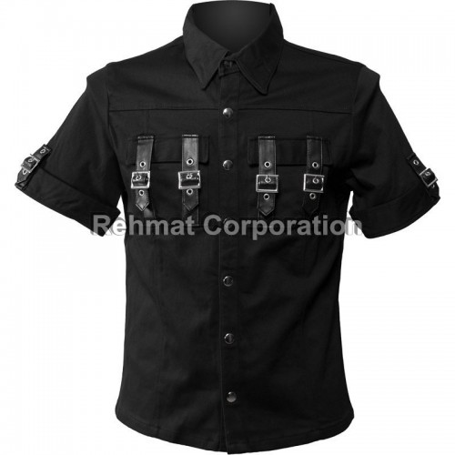 GOTHIC MENS SHIRT BLACK COLOR WITH BUCKLES ON POCKETS