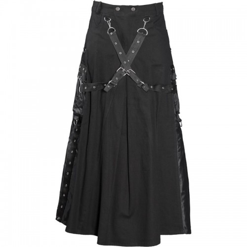 2015 Gothic Black Cyber-goth bondage skirt cotton material