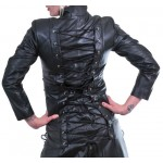 GOTHIC STYLE LEATHER COAT BLACK COLOR STEAMPUNK GOTH