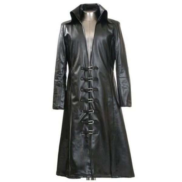 da3755bba1fbb mens gothic long leather coat black color steampunk goth