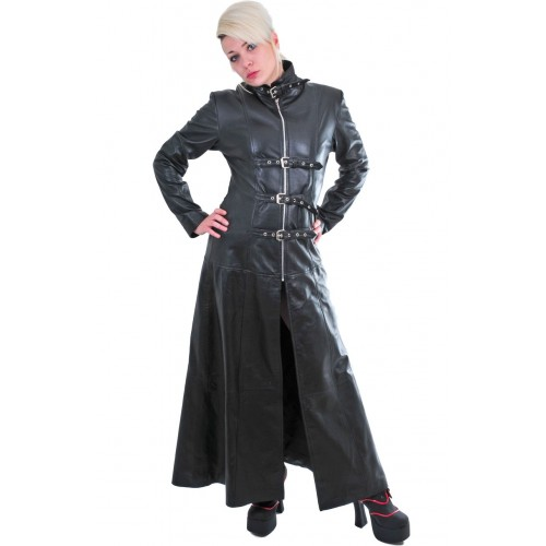 GOTHIC STYLE LEATHER COAT BLACK COLOR STEAMPUNK FRONT STRAPS
