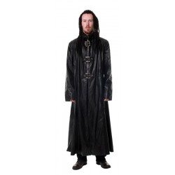MEN'S GOTHIC LONG LEATHER COAT BLACK COLOUR STEAMPUNK