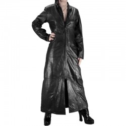 2015 GOTHIC BLACK ZIPPER LEATHER LONG COAT FOR WOMENS