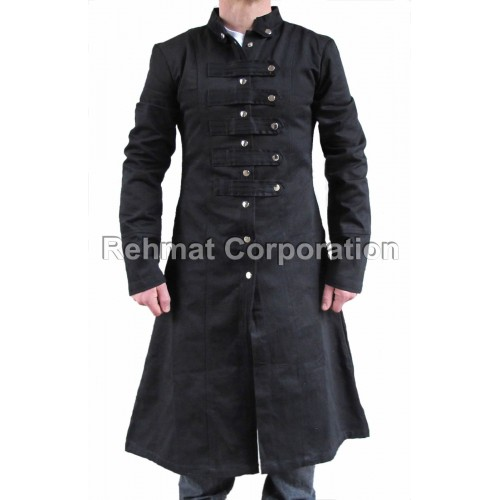 MENS MILITARY TRENCH STRAIGHT COAT CRIMINAL BLACKLIST STEAMPUNK BLACK GOTHIC