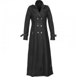 2015 GOTHIC BLACK WOOL MILITARY STYLE LONG COAT FOR WOMENS