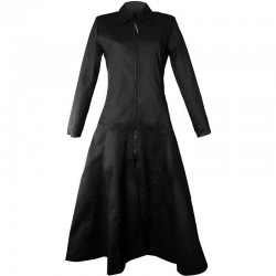 2015 GOTHIC BLACK ZIPPER AND DRAWSRING COTTON LONG COAT FOR WOMENS