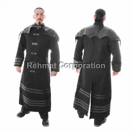 GOTHIC ROCKSTAR COTTON COAT STEAMPUNK GOTH WITH PVC