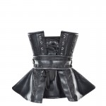 WOMEN'S GOTHIC PUNK BLACKLEATHER SEXY COSTUMES STEAMPUNK CORSET