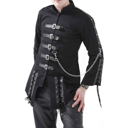 BLACK CYBER PUNK GOTHIC JACKET WITH LACES