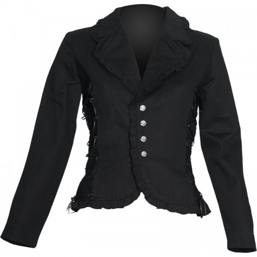 2015 BLACK COTTON GOTHIC FASHION JACKET WITH SIDE LACING FOR WOMENS