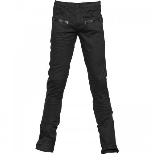 2015 Gothic Black denim leather-look application men's pants cotton material