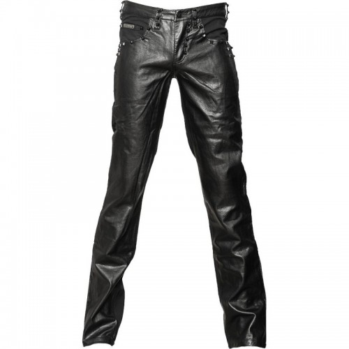 2015 Gothic Black denim men's pants with leather-look application cotton material