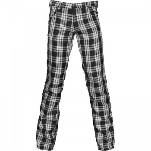 Gothic Black Goth tartan mens pants black / white cotton material