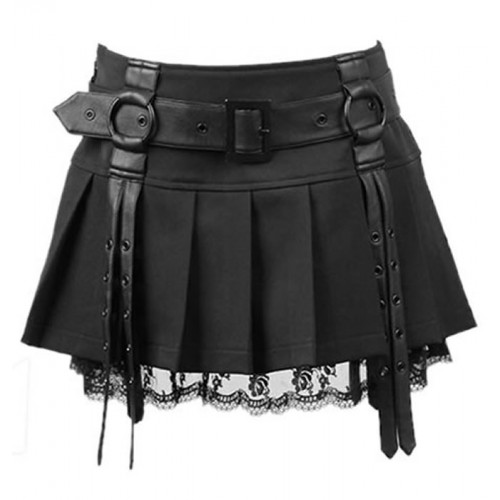 GOTHIC BLACK COLOR FAUX LEATHER SKIRT STEAMPUNK GOTH